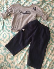 Baby Girls Adidas 2 Piece Yankees Outfit Shirt Pants Size 12 Months