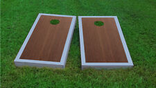 Premium Grey Border Rosewood Stained Cornhole Board Game Set