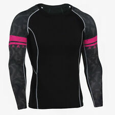 Mens Compression Base Layer Fitness Long Shirts Suit MMA Tops Skin Tights New