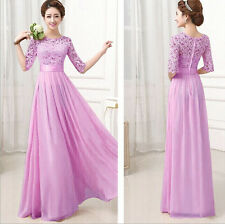 Lace Chiffon Bridesmaid Prom Ball Gown Formal Evening Party Cocktail Long Dress