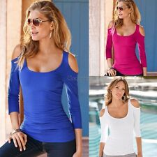 Women Sexy Slim Off Shoulder Blouse Lady Long Sleeve Stretch T-Shirt Solid Tops