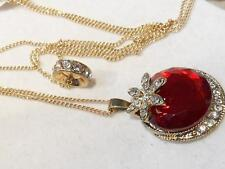 NEW Beautiful 2 Row Goldt Red Glass & Crystal Pendant & Crystal Ring NECKLACE