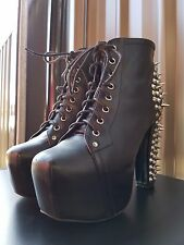 Jeffrey Campbell Lita Spike Platform Booties Boots Black Leather Lace Up
