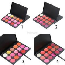 15 Color New Lip Gloss Lipstick Set Lip Makeup Cosmetic Palette Kit+Brush