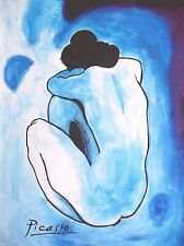 Picasso Blue Nude Woman Oil Van Gogh Canvas Miro Painting Abstract Art Cubism