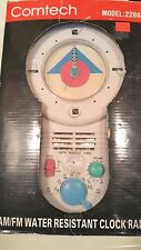 Vintage 1980s Comtech  New in Box Shower Clock Radio AM/FM  Water Resistant