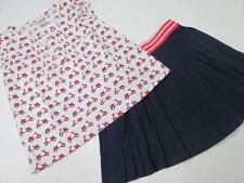 GYMBOREE GIRLS NAVY PINK WHITE STRIPE PLEATED SKIRT SCOOTER SHIRT 2 PC SET 6 NWT