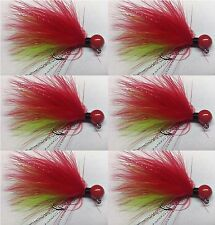 6pk Chartreuse Green and Red Hand Tied Marabou Jigs-Steelhead,Trout 1/8-1/64 oz