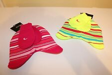 NWT NIKE BABY GIRLS 2 PC STRIPED WINTER HAT & MITTENS PINK OR LIME YELLOW 12-24M