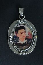 Large Frida Kahlo Pendant Nickel Silver Mexican Folk Art Hand Made in Guanajuato