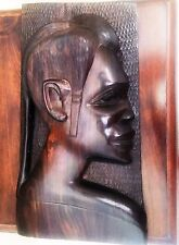 Vintage Hand Carved Wood African Tribal Man's Head 3D Bust Wall Plaque.