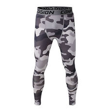 New White Camo Mens Compression Base Layer Pants Tights Under Skin Sports Gear