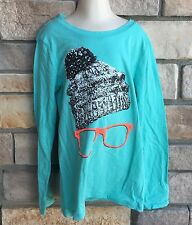 Old Navy XS S M XL Shirt GIRLS Long Sleeve Aqua stocking hat with glasses NWT