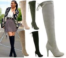LADIES FAUX SUEDE OVER THE KNEE STILETTO HEEL LACE BACK THIGH HIGH BOOTS SIZE