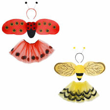 Girls 3Pc Fancy Dress Yellow Bumble Bee Red Ladybird Set Wings Headband Tutu