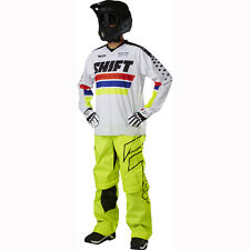 SHIFT MX MENS ADULT FLO YELLOW GEAR COMBO RECON PHOENIX WHITE JERSEY OTB PANTS