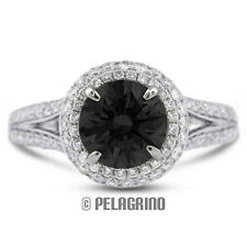3.18ct Black Ideal Round Natural Diamond 18kw Split Band Engagement Ring 3.82mm
