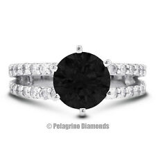 1.46ct Black Ideal Round Natural Diamond 14kw Split Band Engagement Ring 7.82mm
