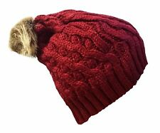i-Smalls Women's Warm Winter Beanie Hat with Faux Fur Bobble