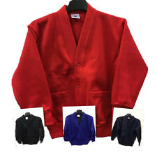 Kids Girls Boys School Button Cardigan Jumper Red Black Blue Navy 2-16 Years Old