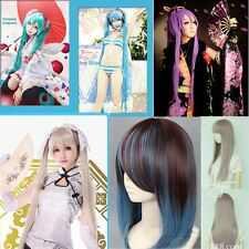 Original & Blue Vocaloid Hatsune Miku Long Cosplay Party Full wig Hair Ponytails