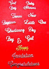 A Bumper Set of Baptism, Christening, New Baby Sentiment Mixed Die Cuts.