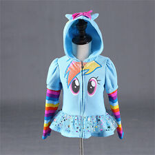 Girls Kids Toddler Hoodie My Little Pony Wing Cute Sweatshirt Coat Jacket Zipper