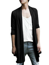 Men Shawl Collar Open Front Pockets High-Low Hem Casual Long Cardigan