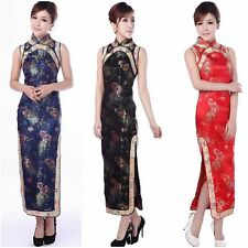 Traditional Chinese Women's Silk Satin Long Evening Dress Cheongsam S M L XL XXL