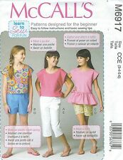 McCall's 6917 Girls' Tops, Shorts and Pants   Sewing Pattern