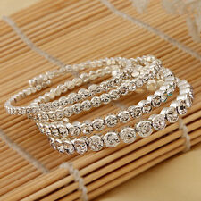 3/4/5/6mm Simple Rhinestone Shining Bangles Women's Silver Plated Party Bracelet