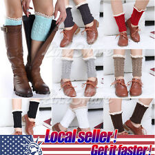 TX SELLER Womens Crochet Knit Lace Trim Leg Warmers Cuffs Toppers Boot Socks
