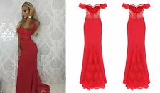 CELEB BERRY OFF SHOULDER LACE FISHTAIL MAXI PROM PARTY BRIDESMAID DRESS 6-18