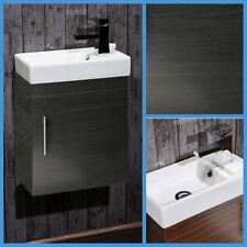 Bathroom Cloakroom Compact Black Ash Vanity Unit Cabinet with Ceramic Basin