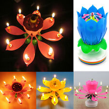 Romantic Musical Lotus Flower Rotating Happy Birthday Party Candle Lights A+