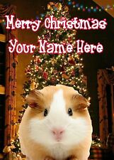 A5 Personalised Guinea Pig Christmas Tree Card ANY NAME Xmas PIDK302