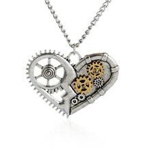 Antique Steampunk Gears Heart Owl Necklace Metal Style Pendant Necklace