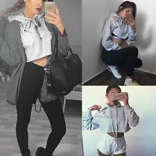 New Women's Long Sleeve Crop Tops Pullover Hooded Sweatshirt Cropped Hoodie Coat