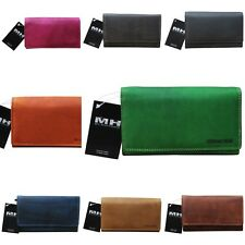 Hill Burry Purse Ladies Wallet Bifold Premium Buffalo Leather Vintage Look