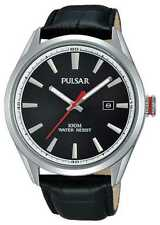 Pulsar Mens Black Leather Strap Black Dial PS9375X1 Watch
