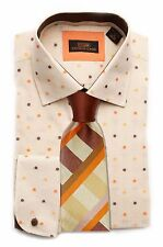 Dress Shirt by StevenLand Spread Collar  Round French cuffs -Cream/Tan-DA1641-CR