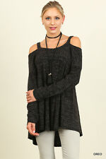 Umgee Women's Cold Shoulder BLACK Long Sleeve Ribbed Tunic Top Size S M L