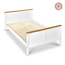 White Timber Bed Frame with Slat Base Queen King