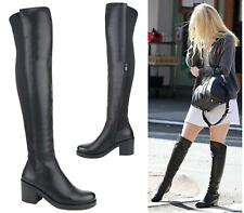 LADIES WOMENS WIDE CALF OVER THE KNEE HIGH STRETCH LYCRA RIDING BOOT BLACK