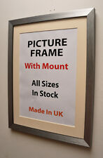 Thin Silver Brush Picture Frame with Mount,Choice of Ivory,Black or White Mount