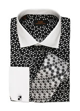 Dress Shirt by Steven Land Spread Collar  Rounded French Cuff-Black/Wt-DW534-BK