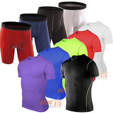 Mens Base Layer Shirt Athletic Under Armour Skins Running Compression Shorts