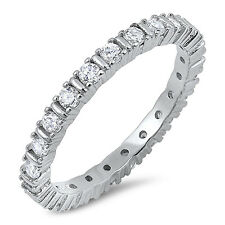 Sterling Silver 925 CZ Eternity Women's Anniversary Wedding Band Ring Size 4-10