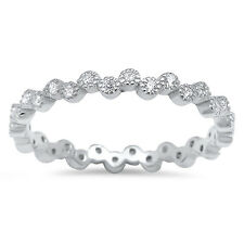 Sterling Silver 925 Women's CZ Vintage Wedding Band Eternity Ring Size 4-10