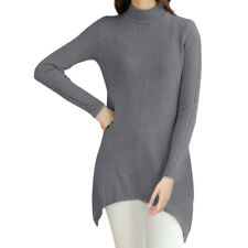 Women Long Sleeves Asymmetric Hem Tunic Cable Knit Top